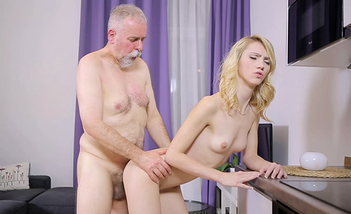 Horny Helena lifts one leg to let old goes young fan fuck her hard from behind