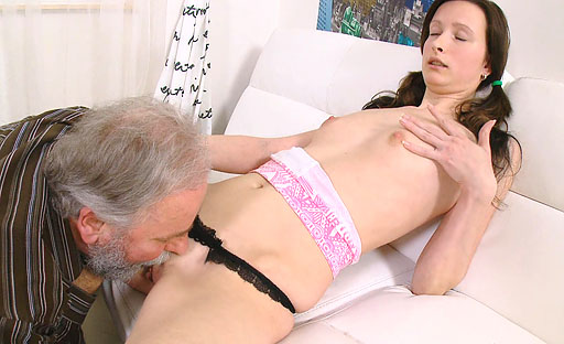 Tubby old man gets the fucking of a lifetime from a petite and horny young slut.