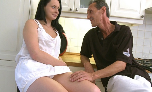 This old guy teaches lithe young babe how to fuck and suck