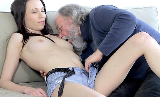 Are you a fan of seeing young girls take on older men? Alina's love of mature dick is epic!