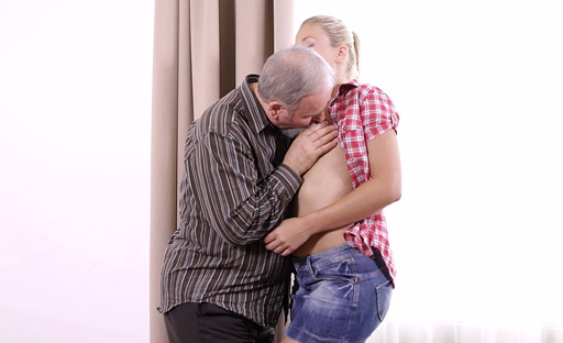 Elena is a bit surprised at how big this old guy's dick really is as he fucks her from behind!