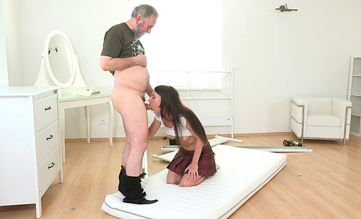 Teen babe Nakita Star flirts with old man and then gets naked and fucks him