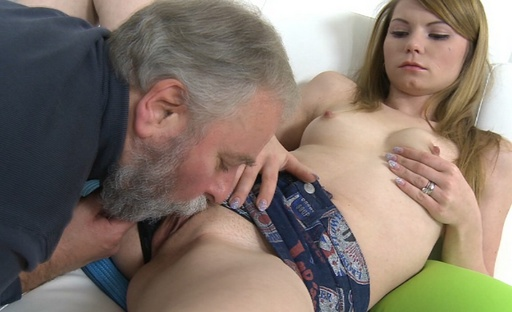 After Sveta's tits have been pleasured, her older man goes to lick Sveta's young and wet pussy.