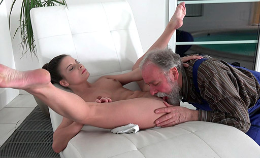 Cute Anita fucked by an older man