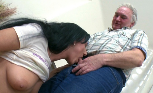 This old perv never knew a girl like Ami could be so good at sucking his cock