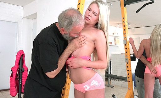 Martina sucks old goes young guy to get him hard enough for hardcore pounding