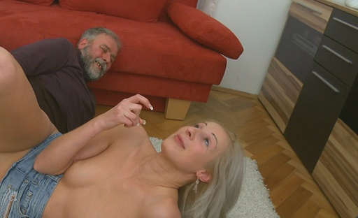Old man gets to fuck one of the hottest blondes we've ever seen in our lives