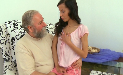 sniffy hot brunette gets fucked by bearded older guy
