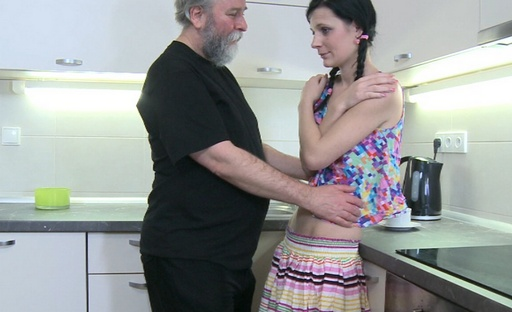Karina and her younger sexy lover are in the kitchen talking about her man's older friend coming over.