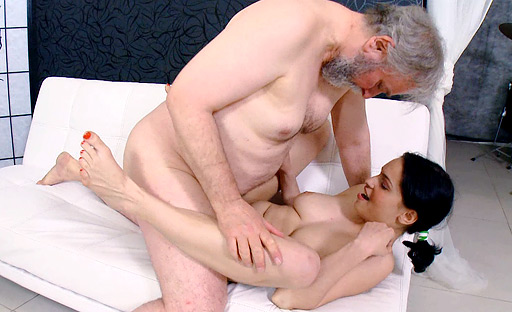Diana has a screaming orgasm as this fat old cock penetrates her young hairy pussy!