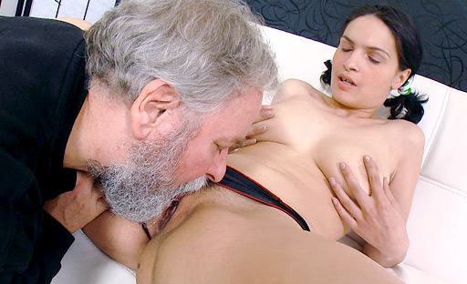 Diana's tight young pussy is being banged as her boyfriend holds her by the throat.
