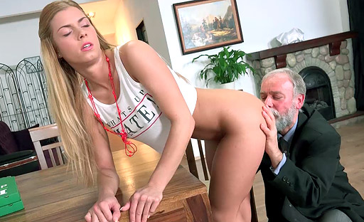 Chrissy Fox is sexually aroused by an older man with a hard dick