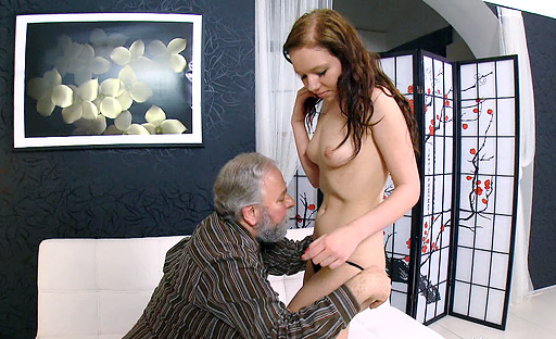 This young chick with small tits is getting a mouth full of old cock