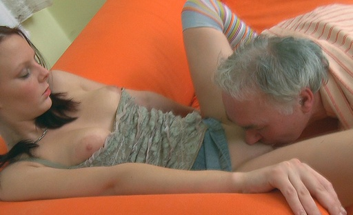 This babe manages to service her boyfriends cock grand the cock of an older guy at the same time