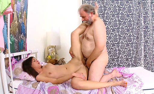 Nadya gets her pussy eaten out by her sexy older lover and loves his tongue in her.