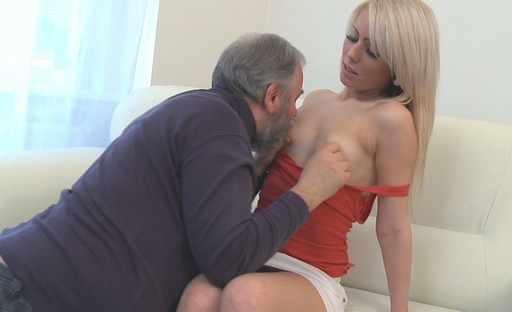 Nona loves the feel of this old dude sucking her nipples
