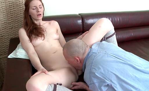 This old goes young dude can barely contain himself as he pulls Alina's panties down.