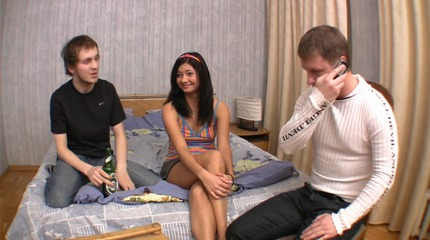 spicy threesome action with teen Sandra