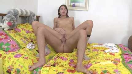 Fat cock slides in a sweet hole of sexy brunette.