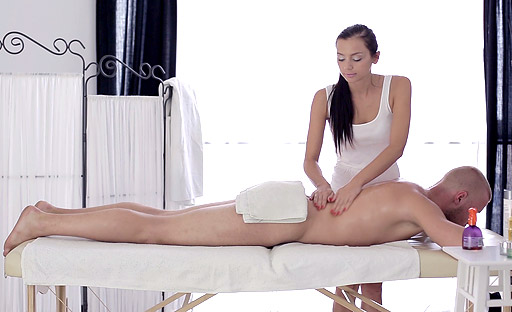 Ludmila massages her new client but really this 18 year old virgin wants to fuck.