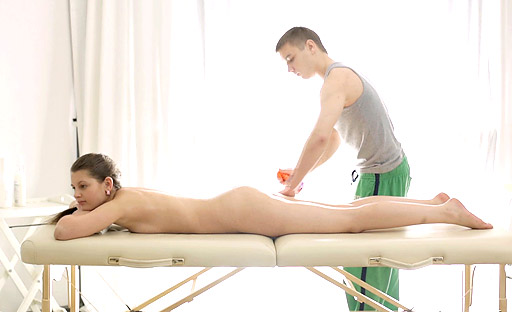 Horny nina enjoys laying on the massage table with the therapists tool inside her Lascivious Nina enjoys laying on her side on the massage table with the therapists cock buried deep inside her wet pussy.Loving every stroke he rams into her.. Nina ..